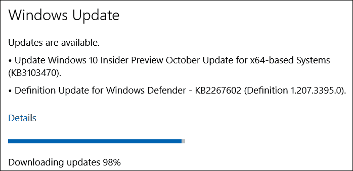تحديث أكتوبر (KB3103470) لـ Windows 10 Insider Preview