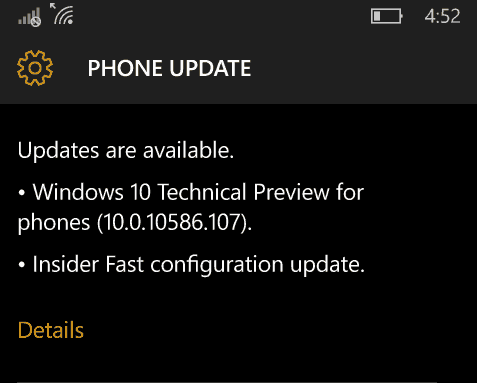 Windows 10 Mobile Insider Preview Build 10586.107 و Release Preview Ring